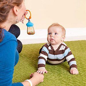 Activities to Boost Cognitive Development: 3-6 Months: Provide Noisy Toys (via Parents.com)