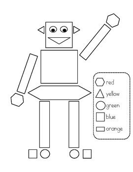 Shape Robot Color Page Drawing For Kids Robot Shapes