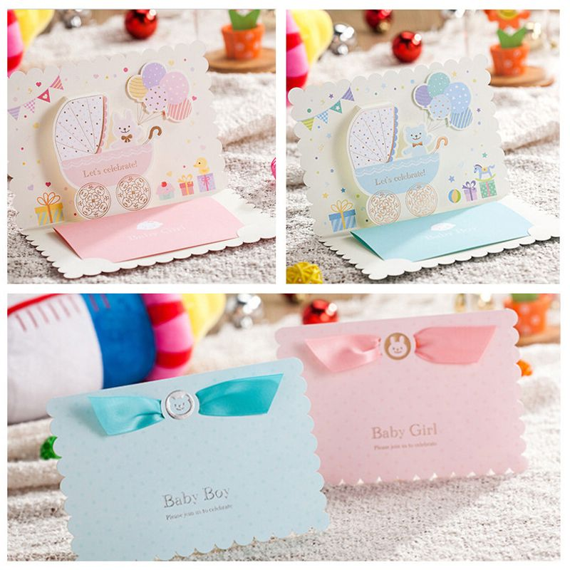 100pcs Pink Sky Blue Birthday Party Invitation Card Baby