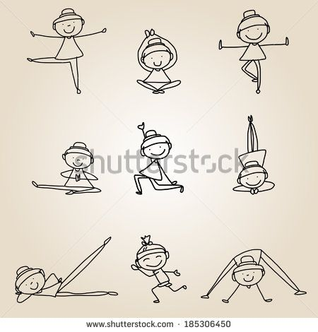 Hand Drawing Cartoon Happy People Yoga Work Out Yoga Drawing Easy Drawings How To Draw Hands
