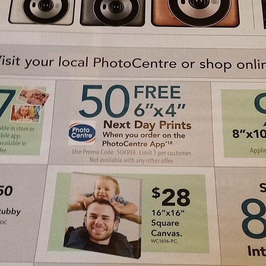 50 Free 6x4 Next Day Photo Prints via PhotoCentre App