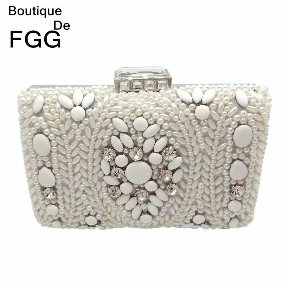 ... White Pearl Clutch Bag Bridal Wedding Beaded Hand bags Metal Clutches  Hard Case Crystal Beading Evening Bag   Price   22.72   FREE Shipping      hashtag1 d496f5ad86be