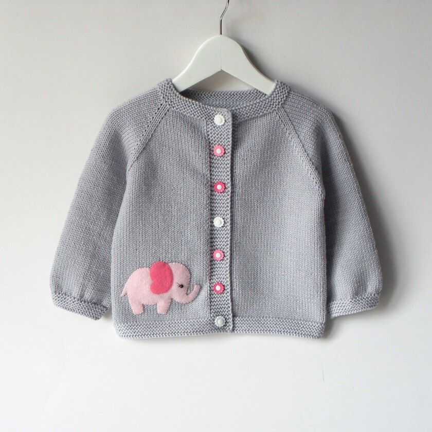 619dab7115e7 Pink elephant sweater silver grey baby girl jacket merino wool baby ...