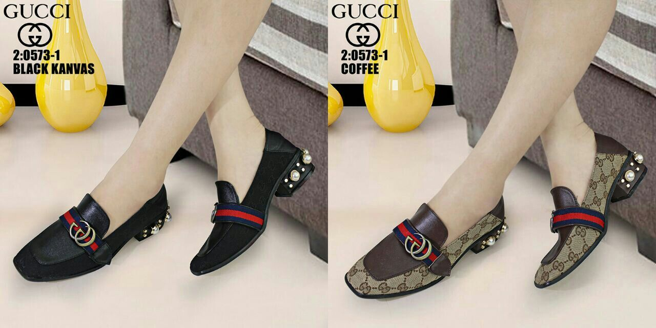 Sepatu Gucci 0573 1 Semprem Bahan Kanvas Combi Kulit Tinggi Tumit