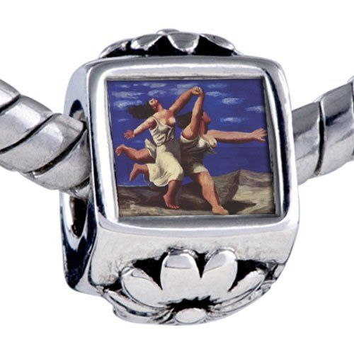 Pugster Bead Woman Running On Beach Painting Beads Fits Pandora Bracelet Pugster. $12.49. Hole size is approximately 4.8 to 5mm. Fit Pandora, Biagi, and Chamilia Charm Bead Bracelets. Bracelet sold separately. It's the photo on the flower charm. Unthreaded European story bracelet design