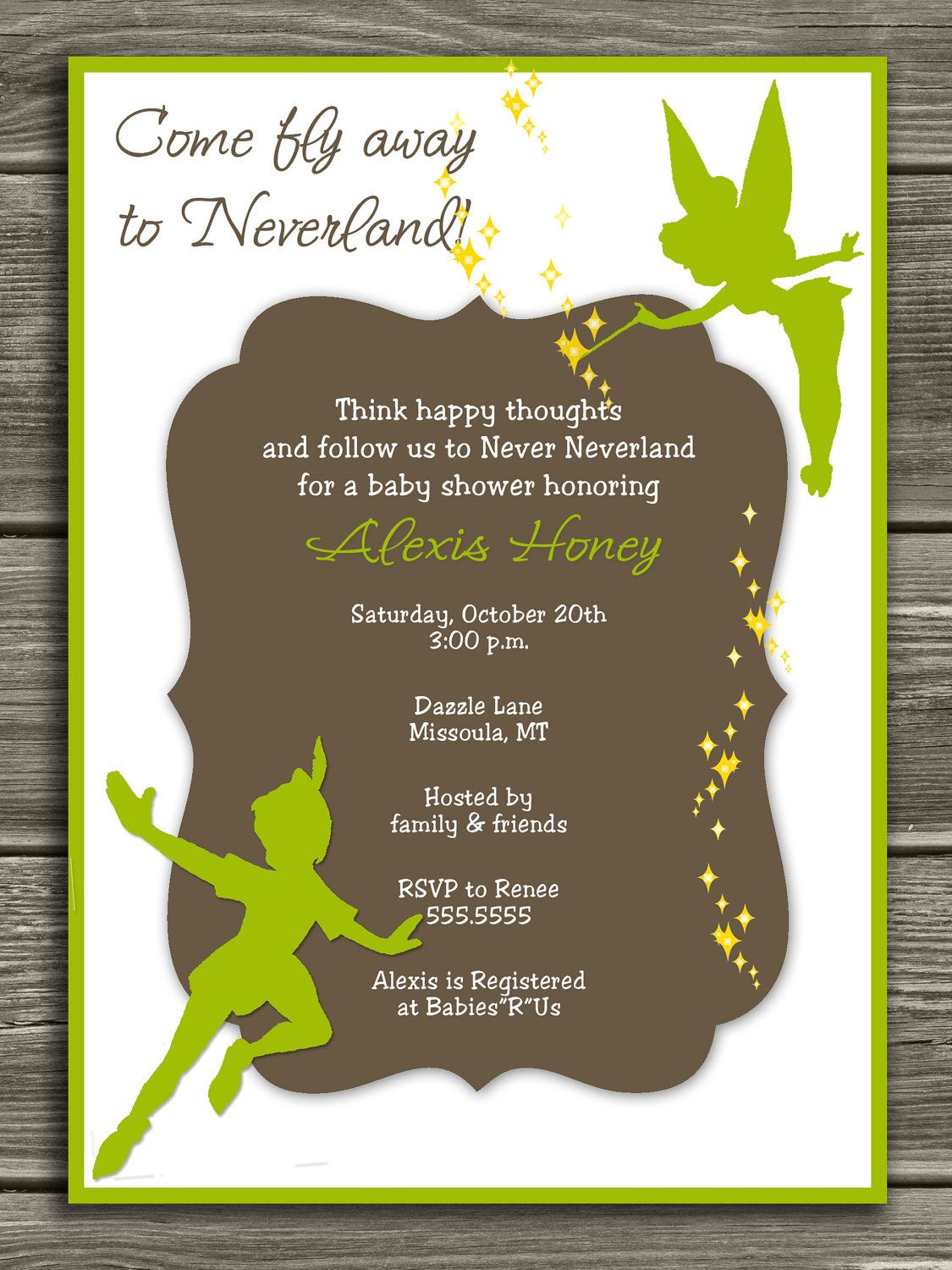 Neverland Baby Shower Invitation - FREE thank you card included ...