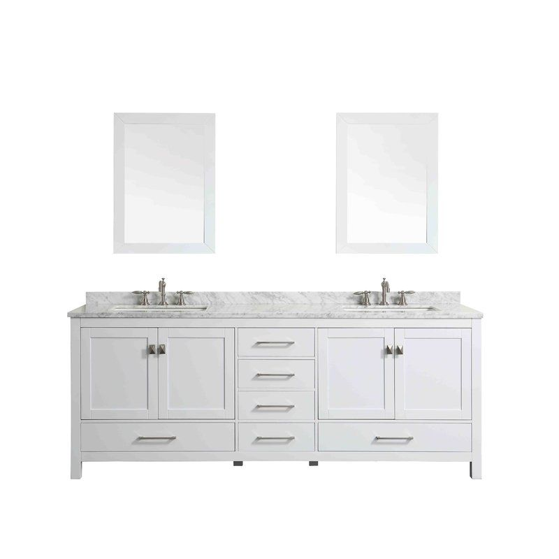 Pichardo Transitional 84 Double Bathroom Vanity Set White Vanity Bathroom Bathroom Vanity Double Vanity Bathroom