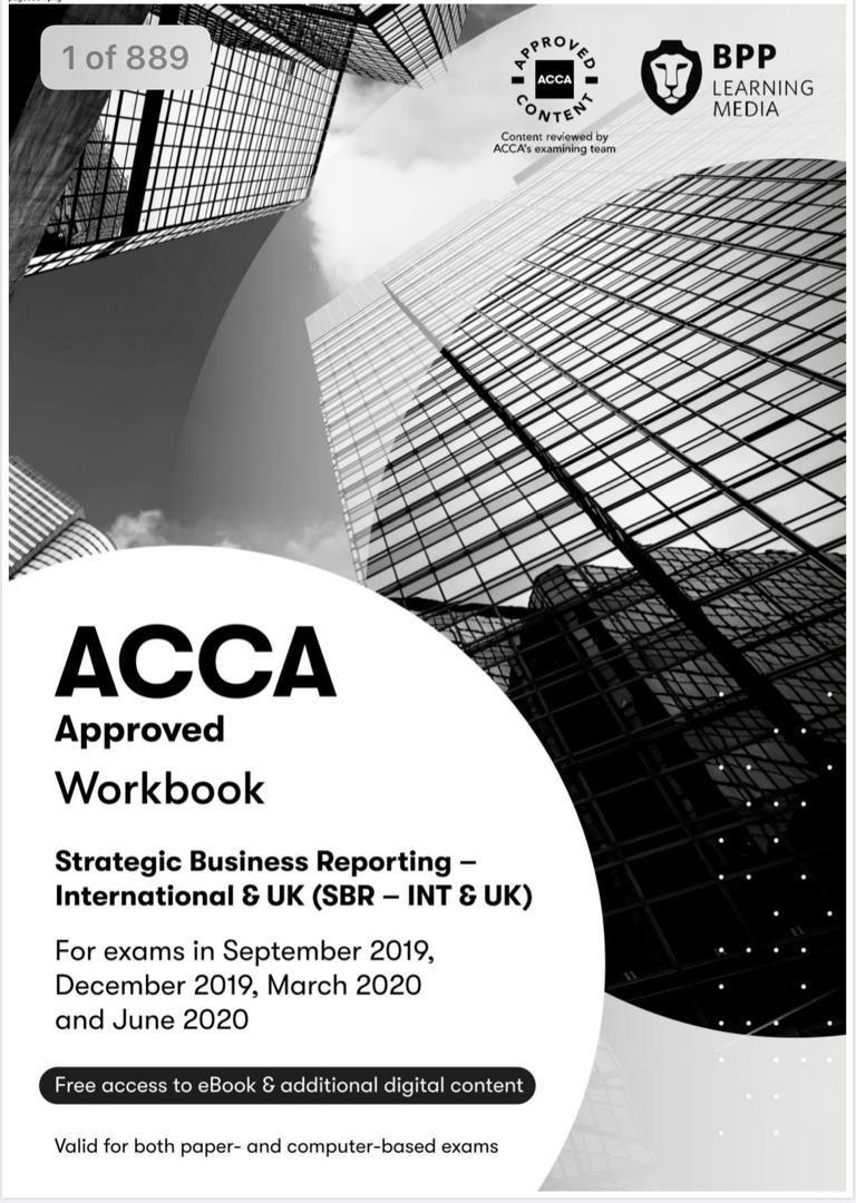 Acca Bpp Latest Book Sbr 2020 Management Business Management Financial Management