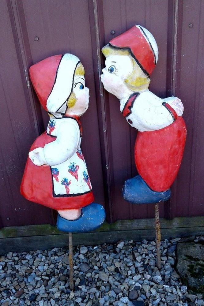 Antique DUTCH KISSING BOY & GIRL CONCRETE VINTAGE Garden Statues ...