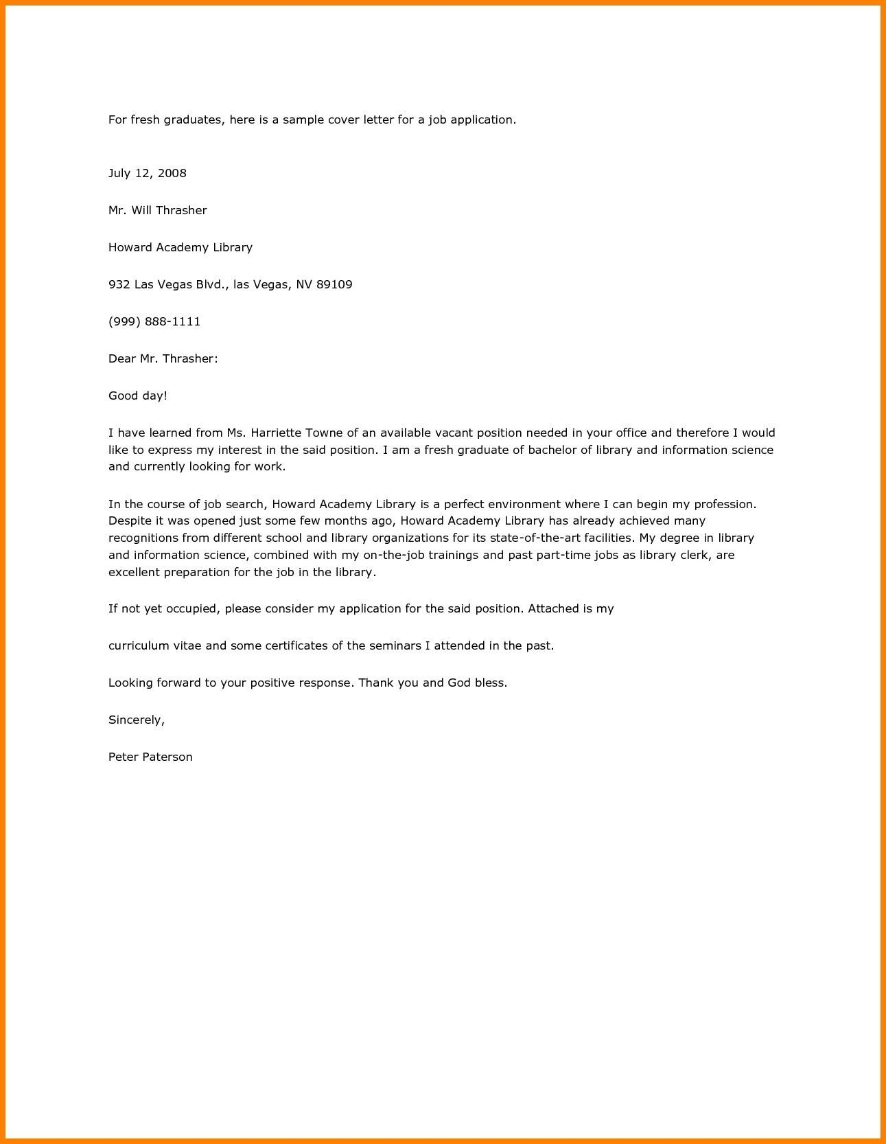 Cover Letter Sample For Graduate Jobs Fresh Job Application Letter Intended For Application Letter Job Cover Letter Cover Letter For Resume Application Letters