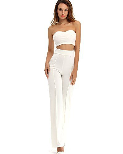 8b2eac7251a4 ... Top and Wide Leg Trousers 2 Pcs Cocktail Party Crepe Set S white --  Details can be found by clicking on the image.Note It is affiliate link to  Amazon.