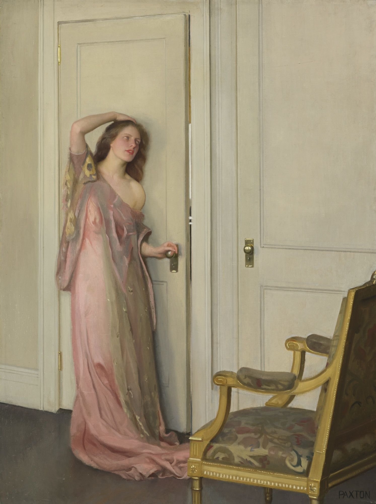 William McGregor Paxton 1869 - 1941 THE OTHER DOOR Signed Paxton (lower right) Oil on canvas 40 by 30 inches by cm) Painted in & The Other Door\