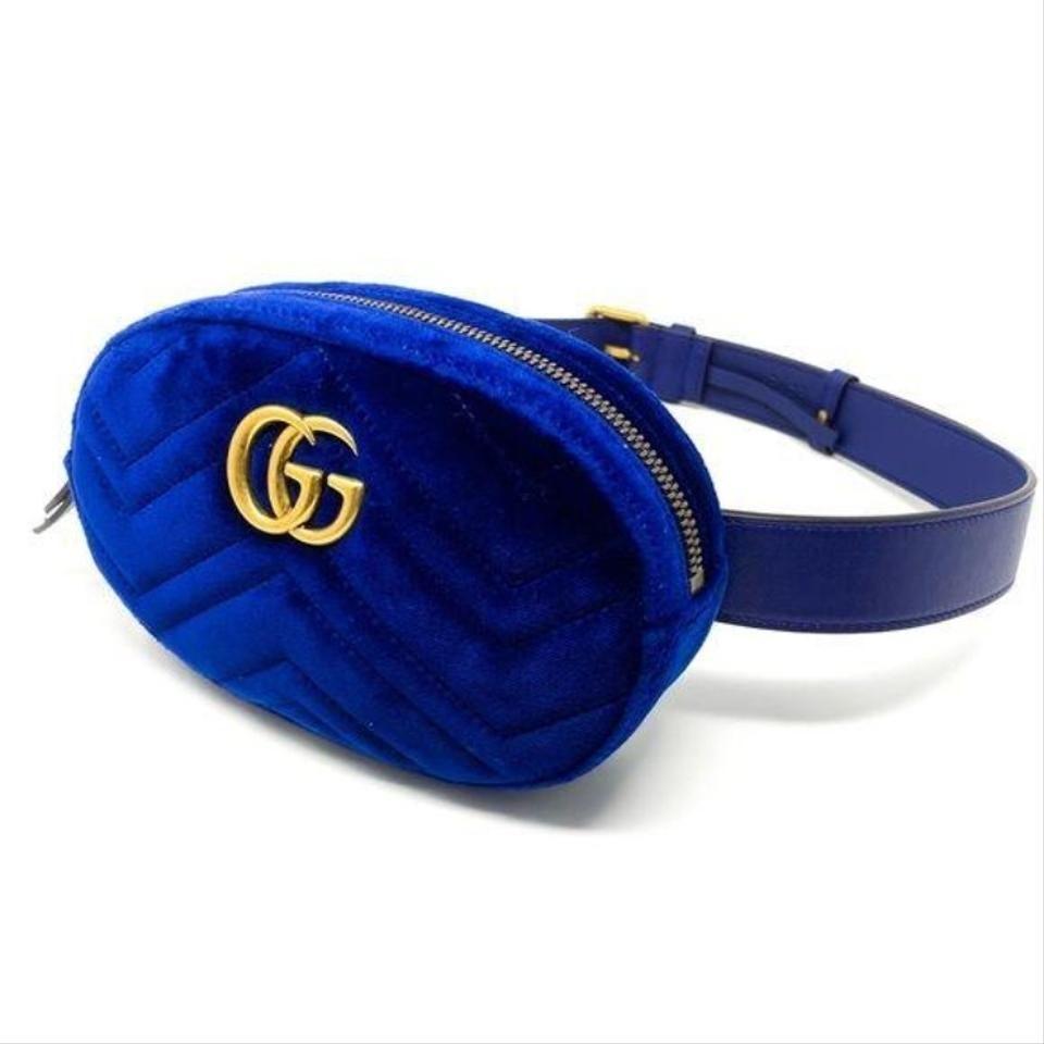 Gucci | Belt Marmont Gg Matelassé Blue Gold Velvet