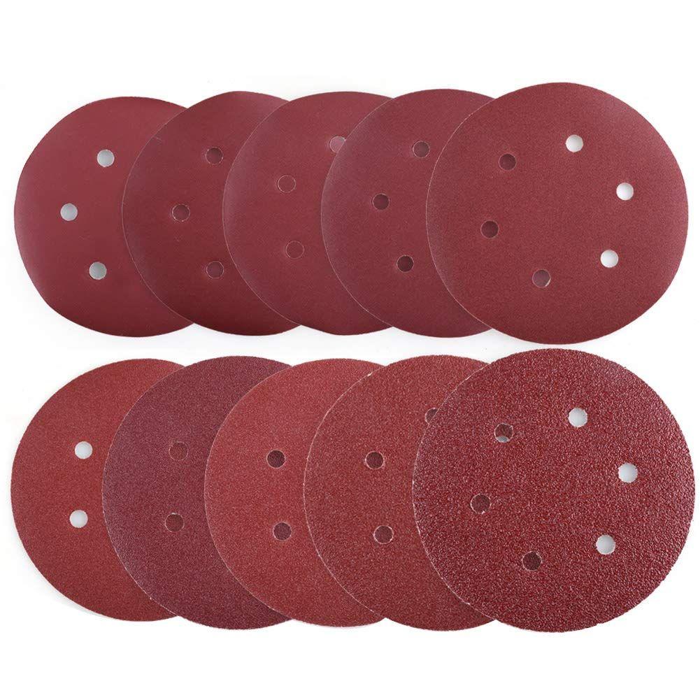 """5/"""" Inch 5 Holes 40 Grit Hook /& Loop Sanding Discs Orbital DA Disks 100 Pack"""