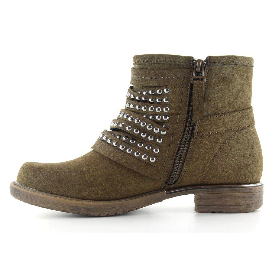 Botki Militarny Styl 888 2 Khaki Zielone Ankle Boot Shoes Boots