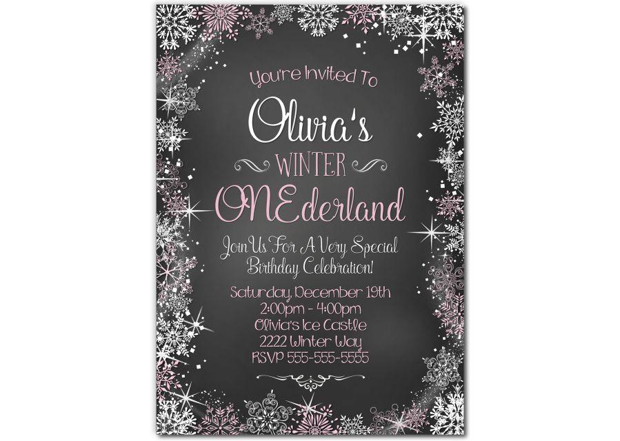 Winter Wonderland Birthday Invitation for a girl on chalkboard ...