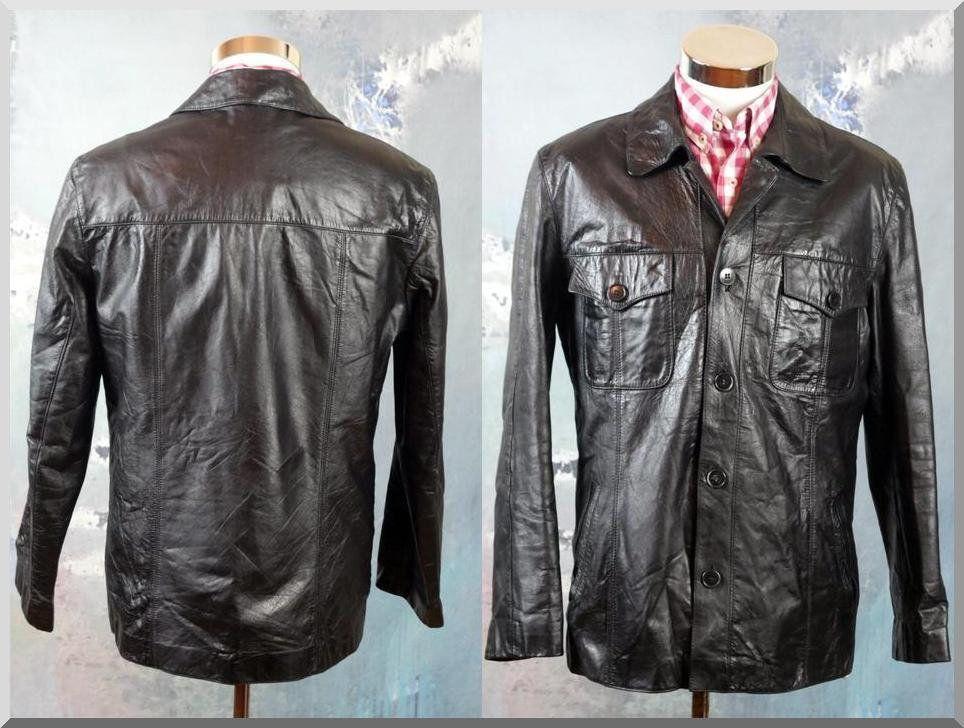 Retro Black Leather Jacket, German VintageButtonDown