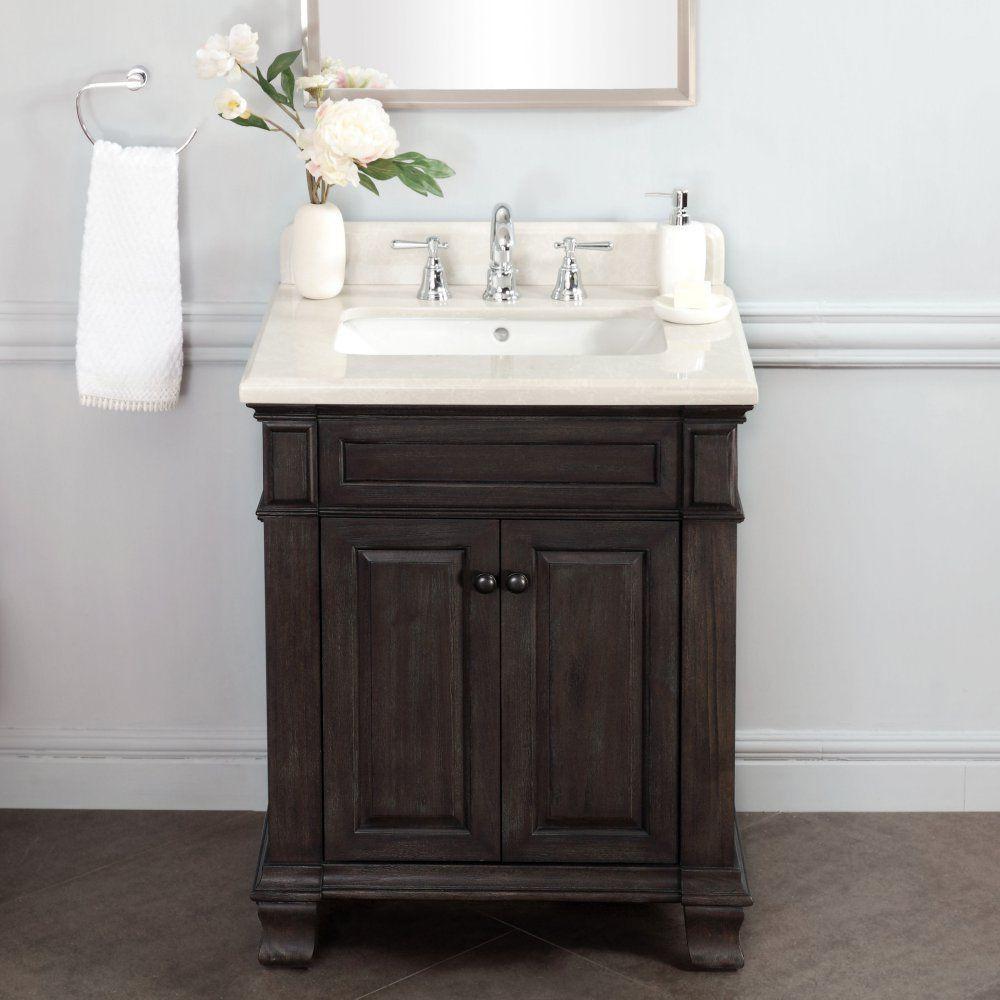 Abel 28 Inch Distressed Single Sink Bathroom Vanity Stone Top