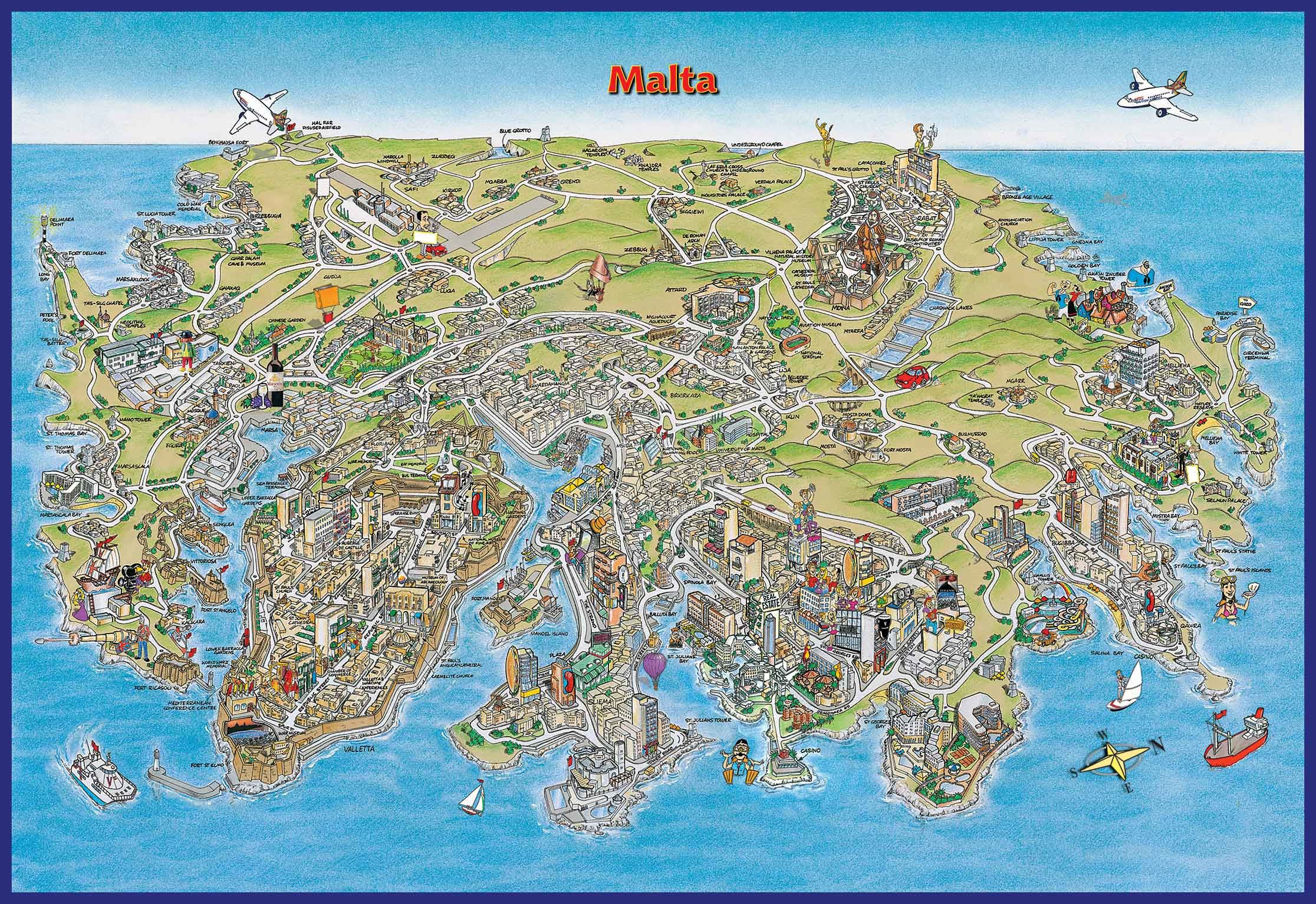 Malta Hr Map Malta Map Illustrated Map Map