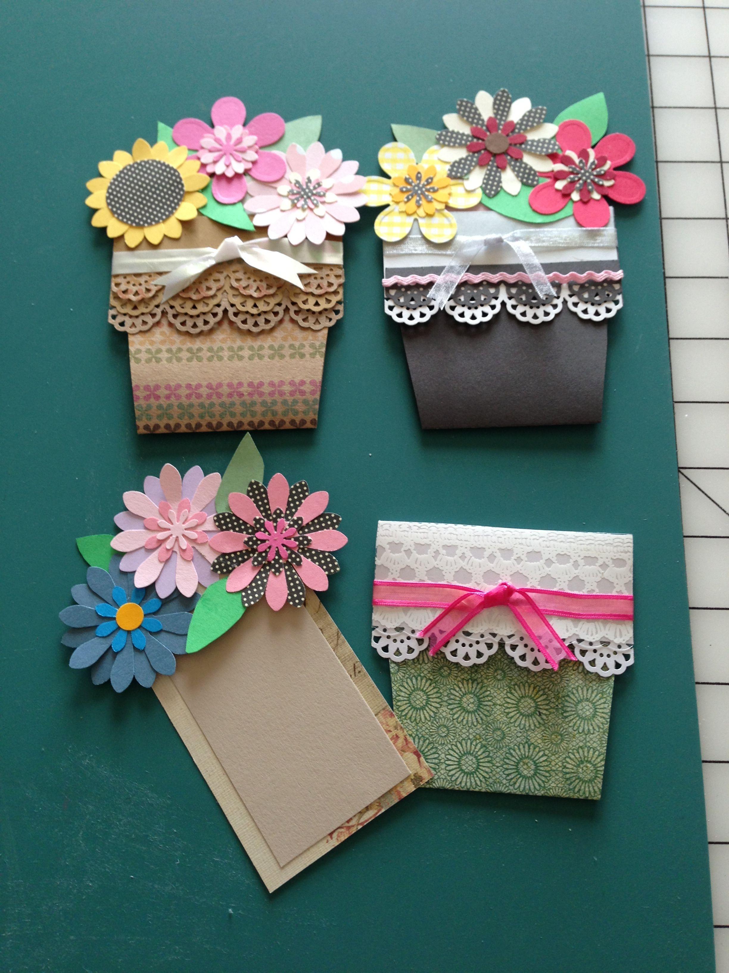Flower pots 2 greeting cards handmade cards handmade