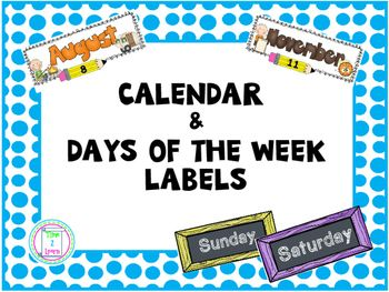 Calendar Months And Days Of The Week Classroom Calendar