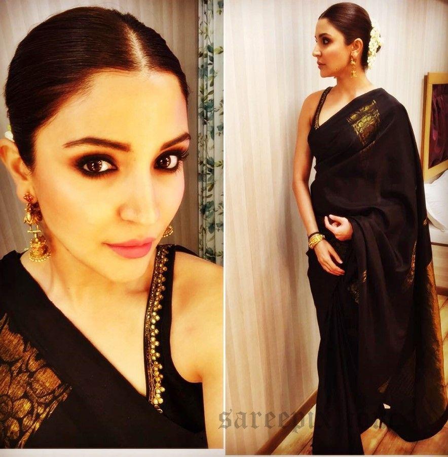 Anushka Sharma In Black Traditional Saree Saree Hairstyles Sleeveless Blouse Saree Saree Look