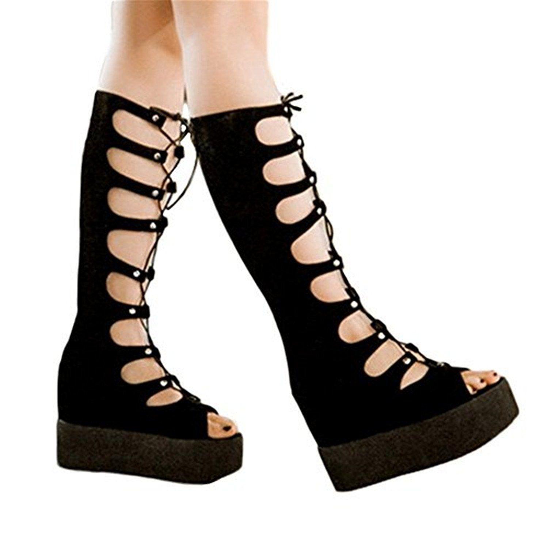 Shoe'N Tale Knee high wedges Gladiator women Long lace up heels ...