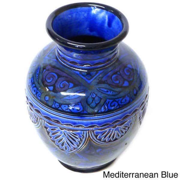 Engraved Ceramic Vase Handmade In Morocco Overstock Shopping