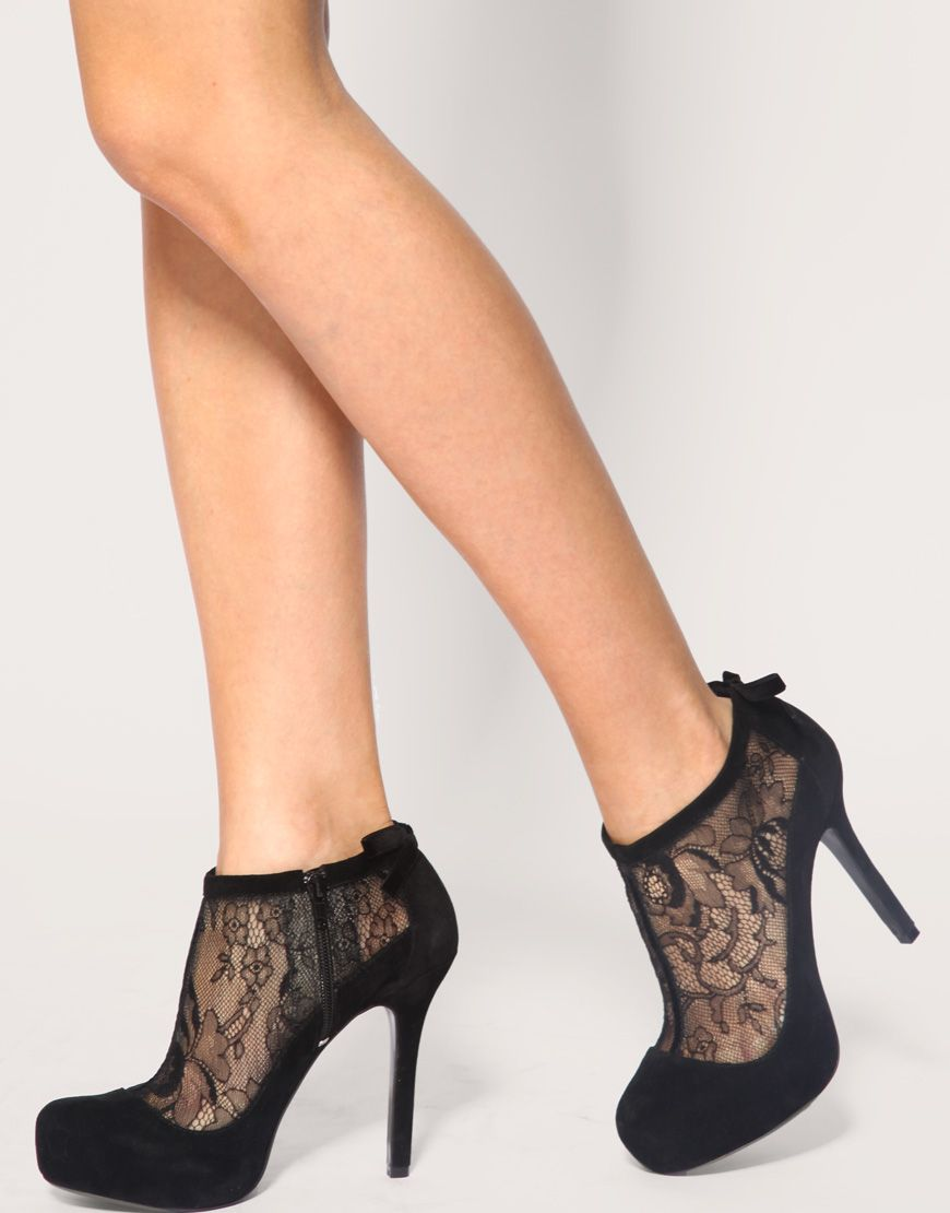 asos tobago lace and bow shoe boot