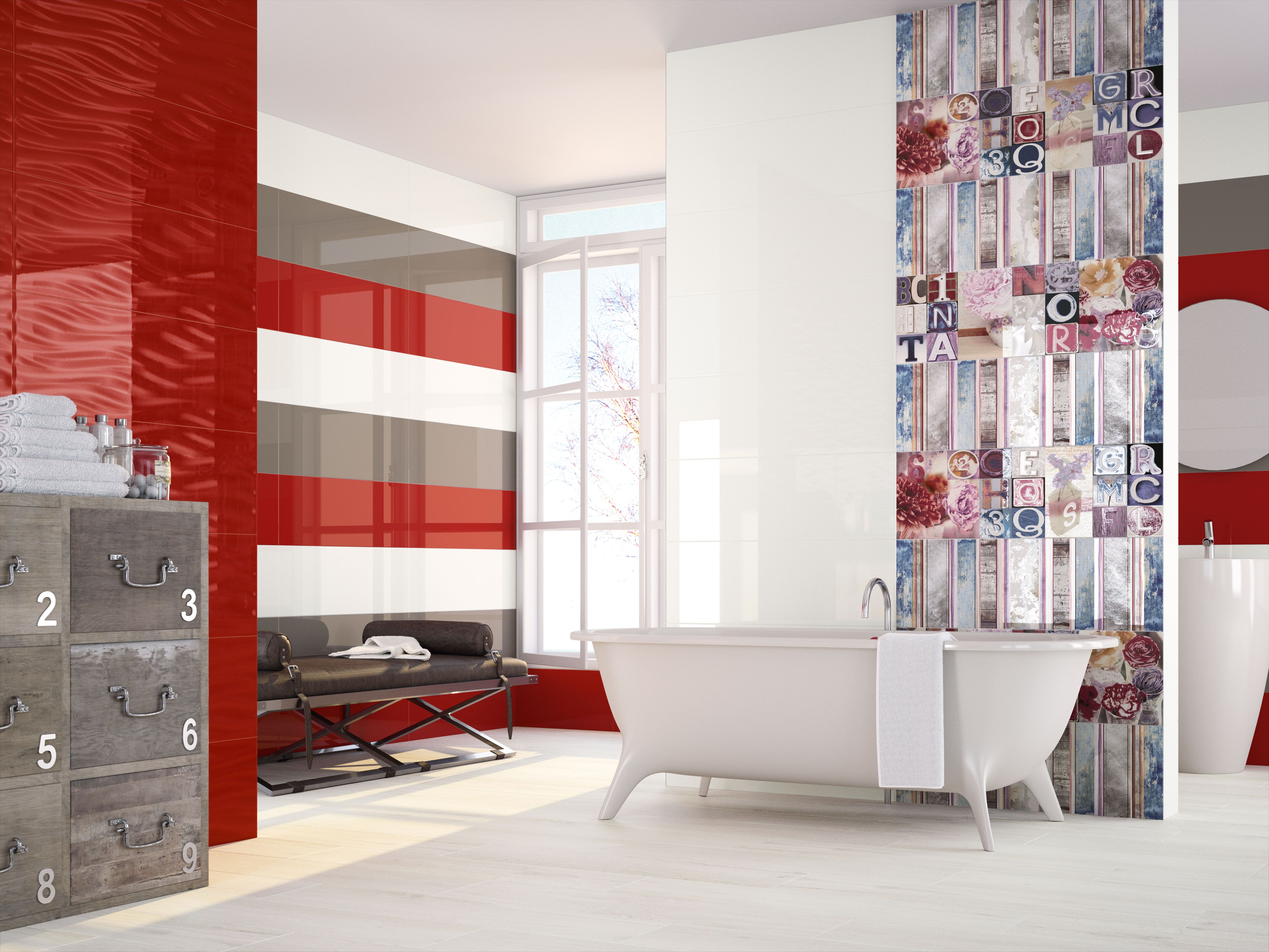 Modern #bathroom with original #decoration, in #red, #white and ...