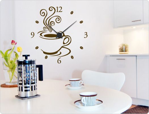 Wandtattoo-Uhr 11527 u201eKaffee Designu201c Wanddeko Wall hangings and - wandtattoo küche kaffee