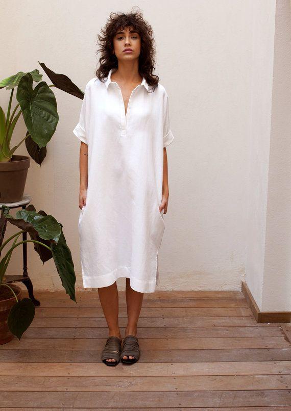 Buttoned up linen shirt dress with pockets. Great beach dress ...
