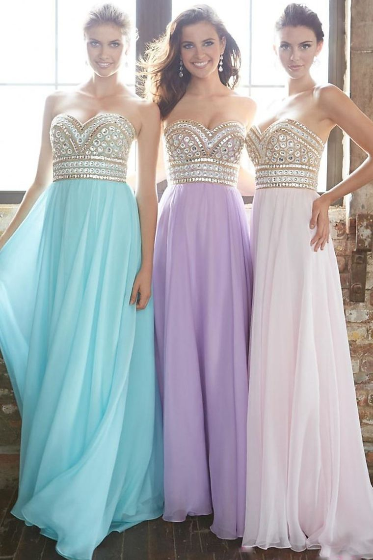 2015 New Arrival Prom Gown A-Line Sweetheart Sweep/Brush Chiffon ...