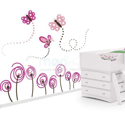 Vinilo flores con mariposas vinilos decorativos vinilos - Habitaciones infantiles decoracion paredes ...