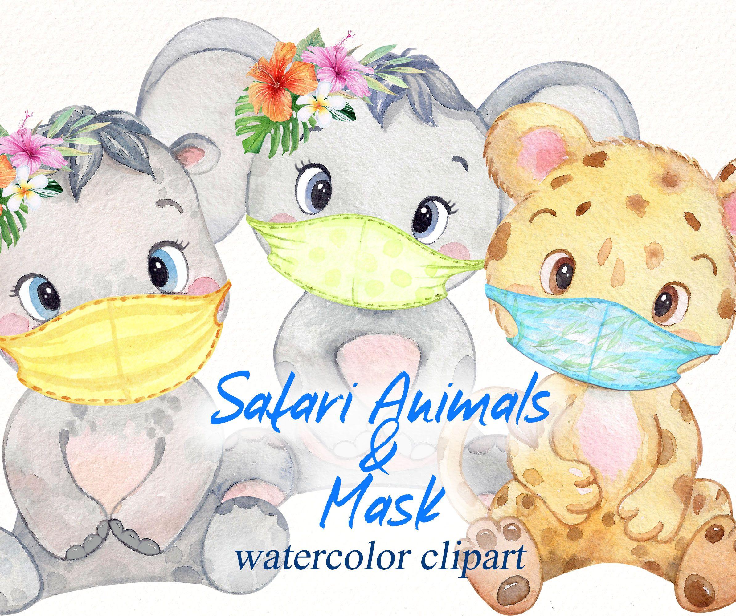 Safari Animals And Medicine Masks Clipart Watercolor Baby Etsy In 2021 Safari Animals Clipart Safari Animals Clip Art