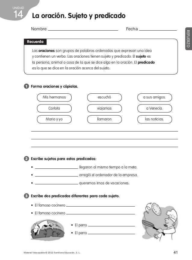 Colorinets: SUJETO, PREDICADO Y VERBO | Multiplication worksheets ...