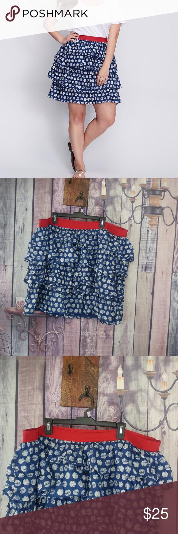 Lane Bryant Women/'s Blue /& White Dots Tiered Skirt Size 26//28