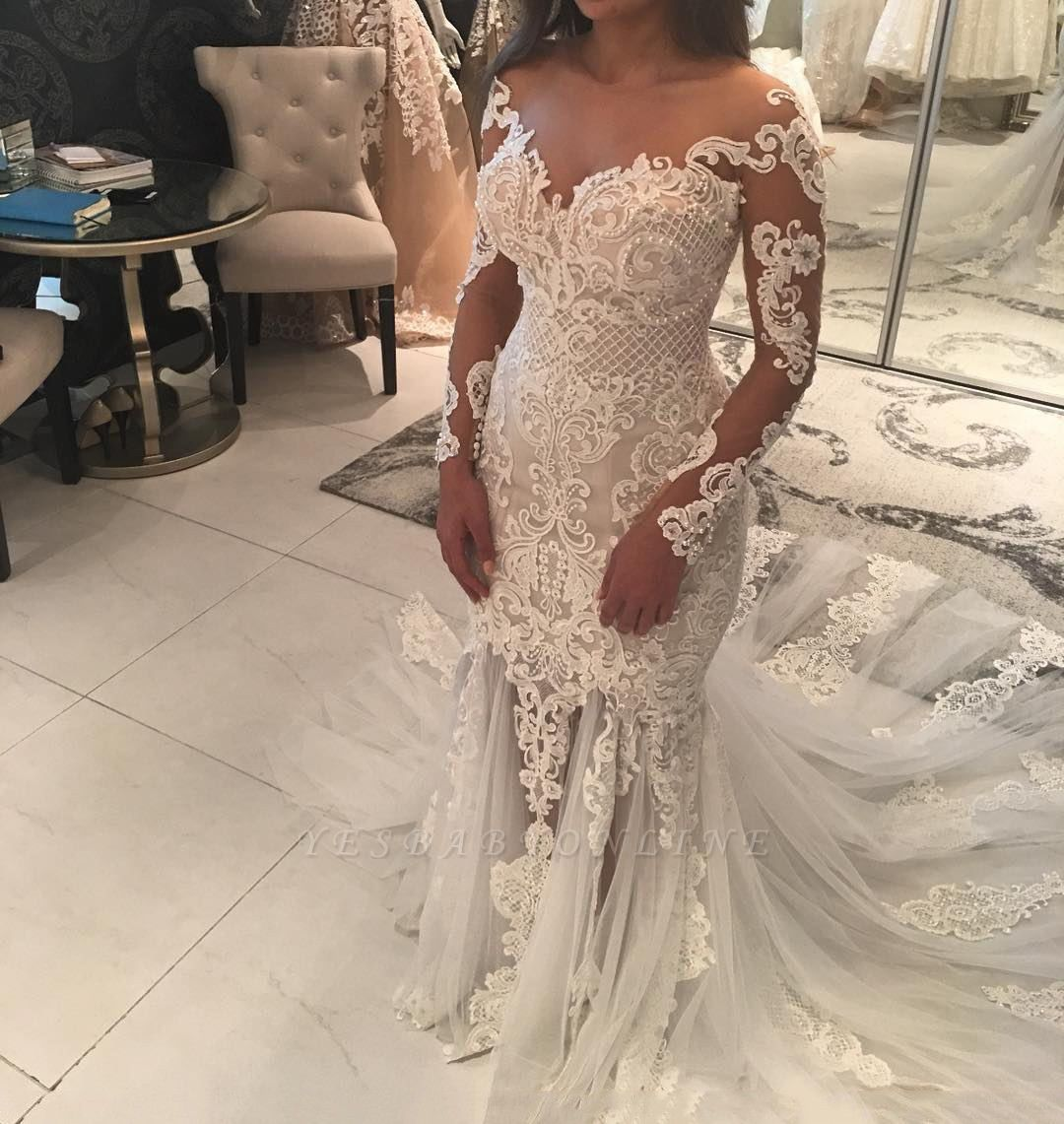 Sparkly Mermaid Long Sleeves Wedding Dresses Off The Shoulder V Neck Appliques Bridal Gowns Expensive Wedding Dress Sheer Wedding Dress Long Sleeve Mermaid Wedding Dress [ 1141 x 1080 Pixel ]