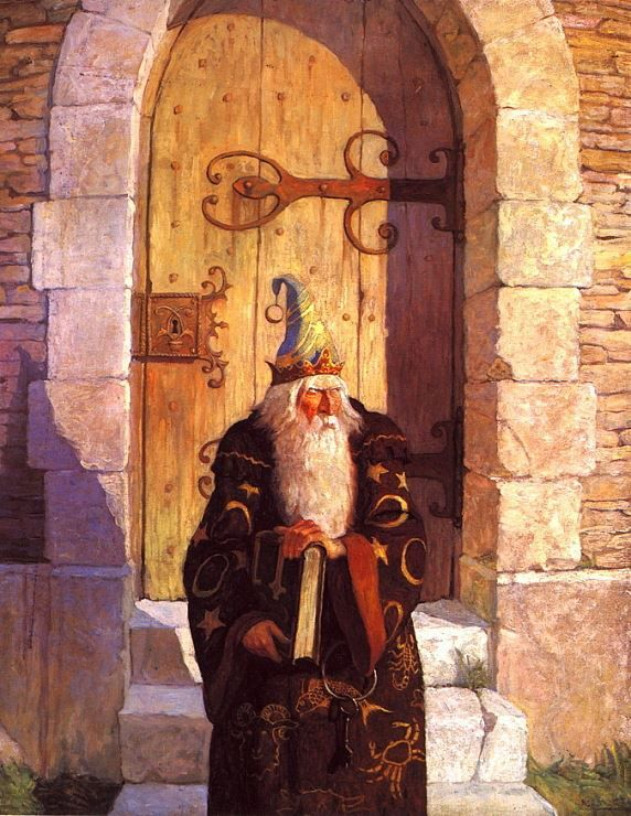 "N.C. Wyeth July 1916, from Mark Twain's The Mysterious Stranger. ""On the fourth day comes the astrologer from his crumbling old tower."""
