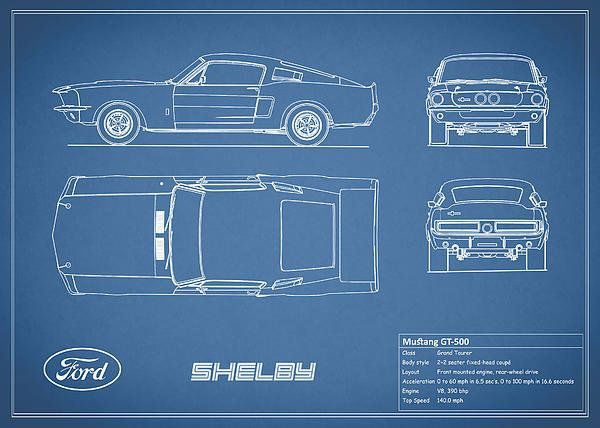 Shelby mustang gt500 blueprint art print by mark rogan pinterest shelby mustang gt500 blueprint print by mark rogan malvernweather Gallery