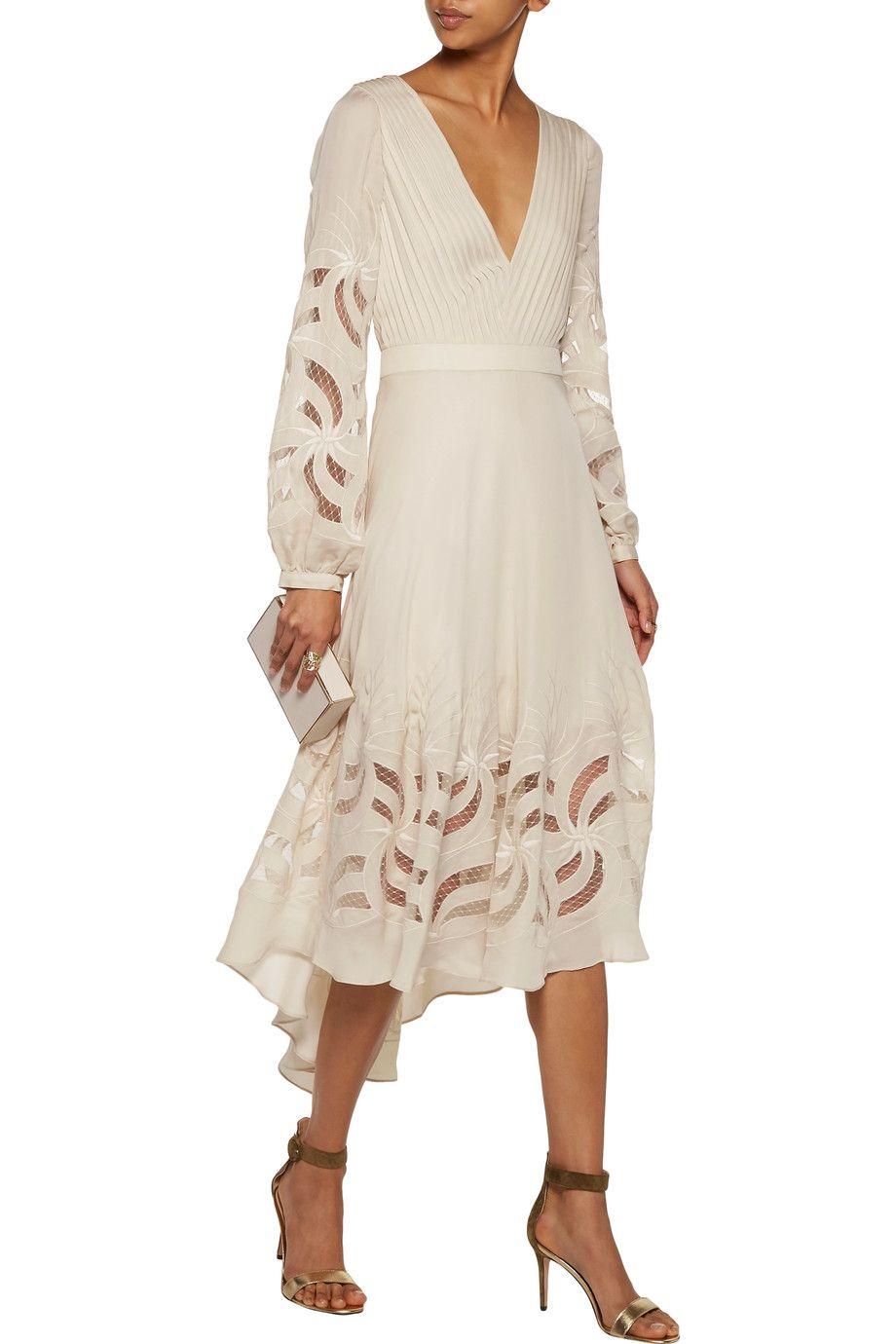 Haute Hippie Woman Lace-up Printed Silk Midi Dress Off-white Size 6 Haute Hippie pZKB7