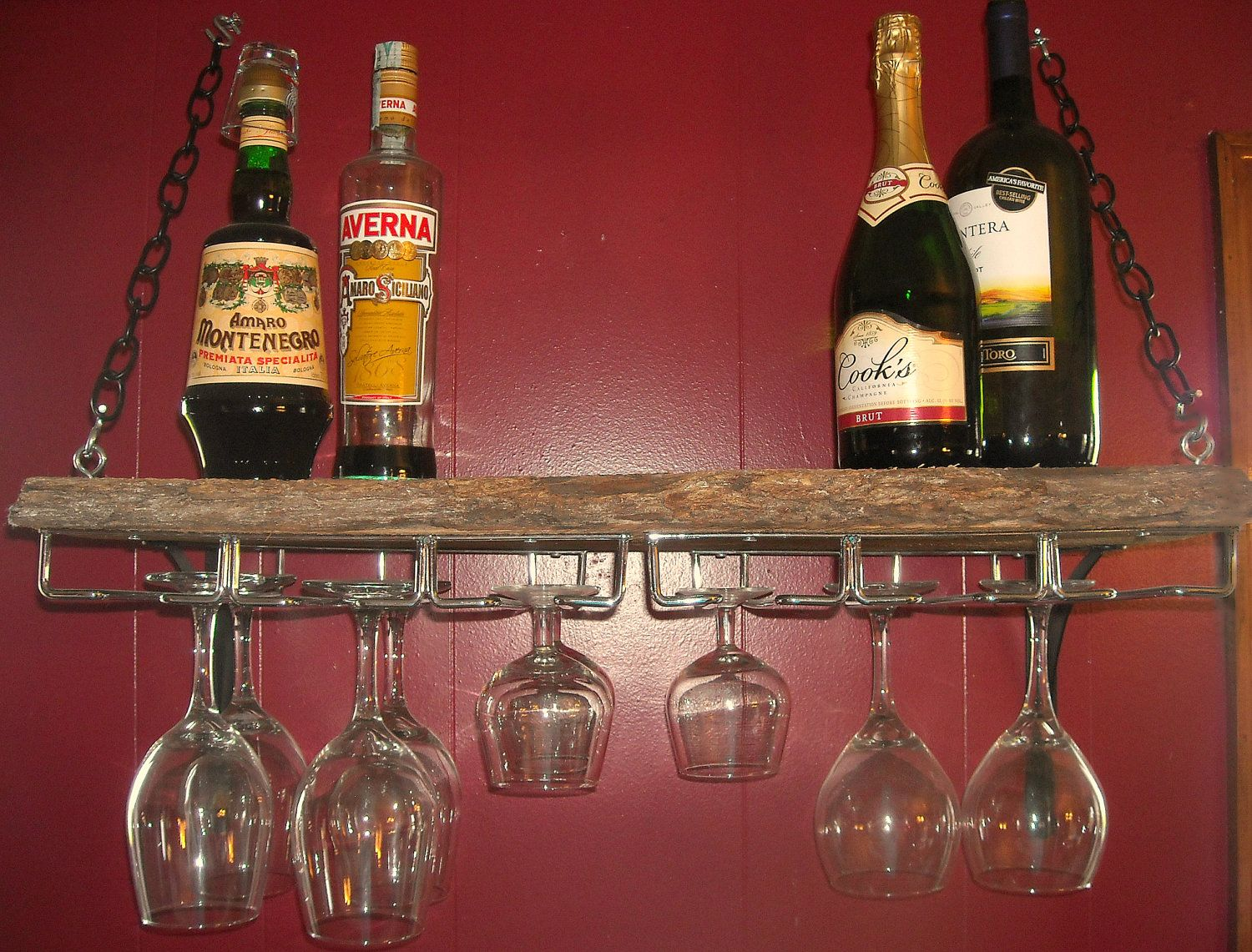 Hanging wine rack with glass holder - Wall Mount Wine Rack Shelf Reserved Wall Mounted Hanging Barn Wood Wine Glass Rack