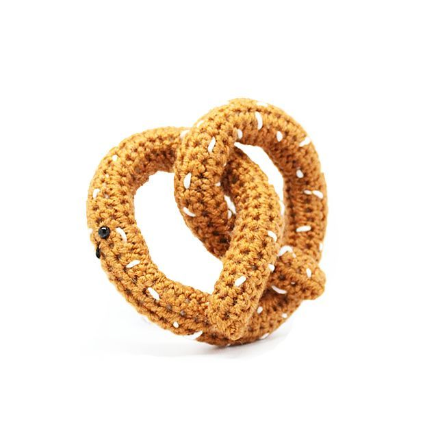 Knit Pretzel Baby Toy - This adorable pretzel is crocheted by hand with love! Seriously. Obsessed. #PNshop