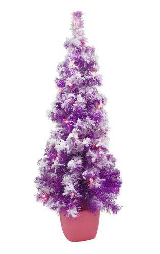 3.5' Pre-lit Flocked Purple Christmas Tree with Pink Pot - 3.5' Pre-lit Flocked Purple Christmas Tree With Pink Pot A Purple