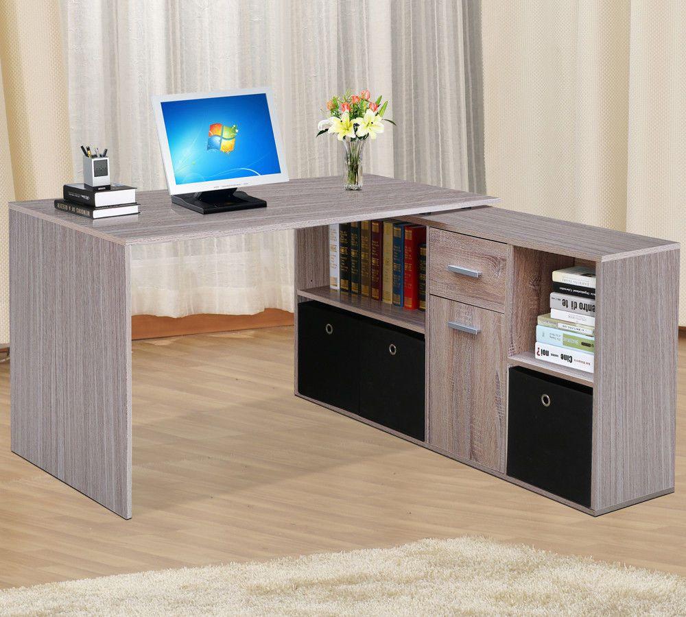 Corner Adjule Computer Desk Table Laptop Pc Work Home Office Furniture