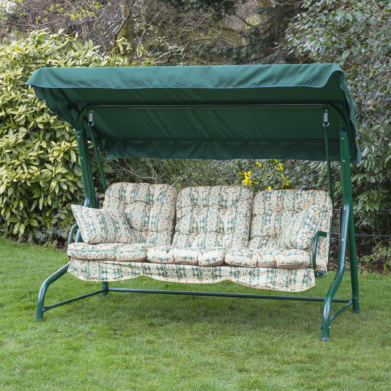 3 seater garden reclining hammock swing seat with luxury cushions   cheltenham green  amazon  3 seater garden reclining hammock swing seat with luxury cushions      rh   pinterest
