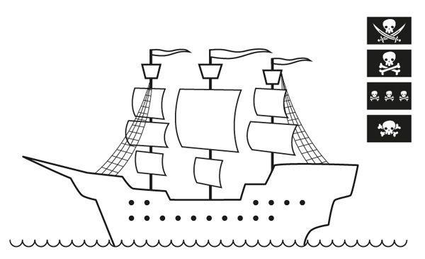 Barco pirata sin bandera: dibujo para colorear e imprimir | piratas ...