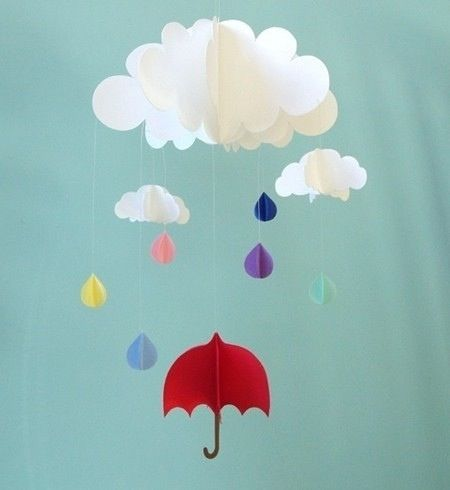 Red Umbrella And Raindrops Paper Mobile 48 Paper Mobile Hanging Mobile Red Umbrella