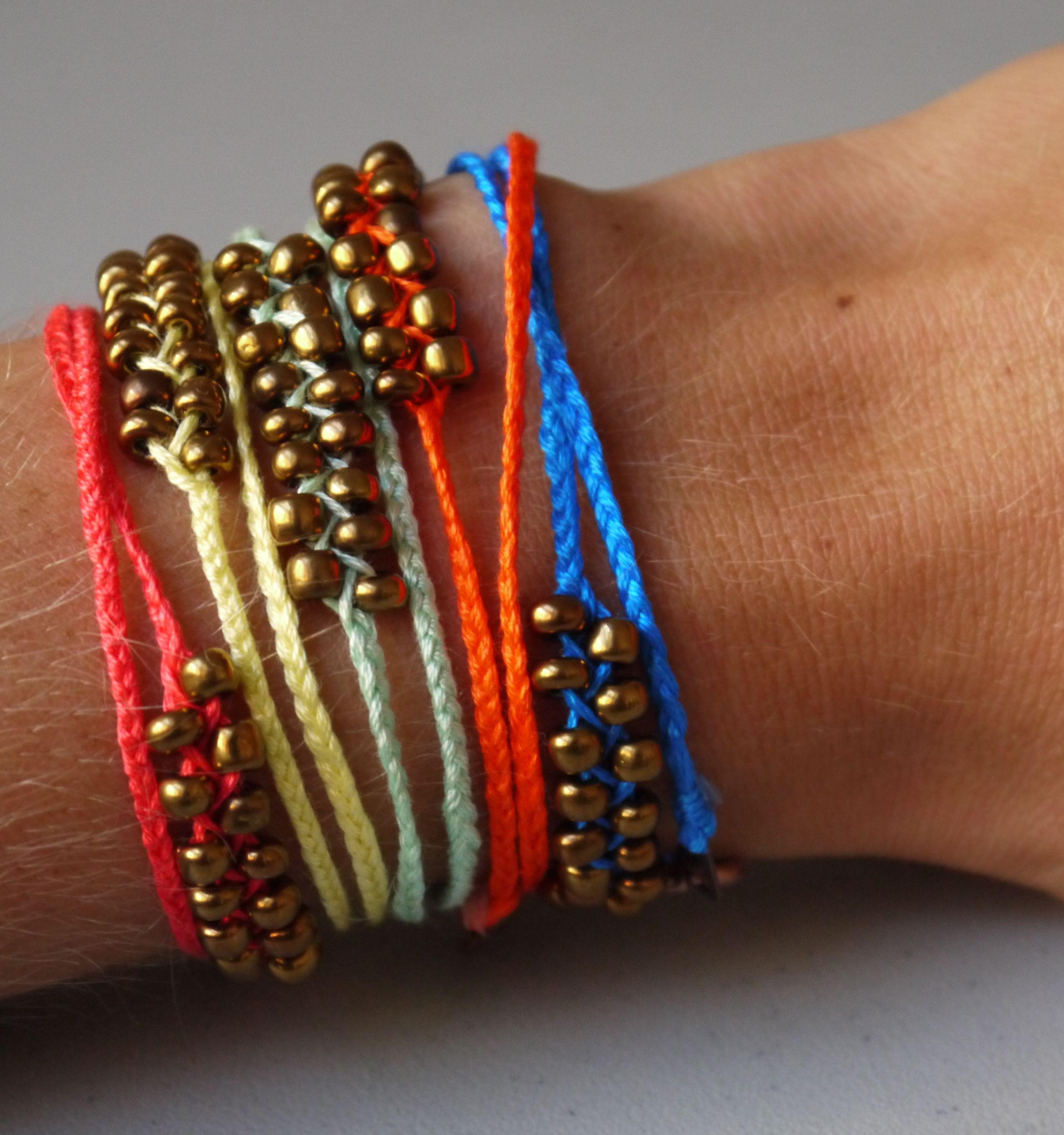 Diy Beads: DIY Neon Braided Bead Bracelets