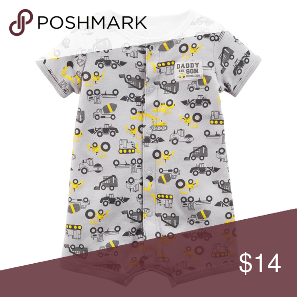 b830cda57f1b Carters Snap Up Romper Baby Boy Construction Short sleeves Snap-up design  Nickel-free snaps on reinforced panel Allover construction print Fabric    Care ...